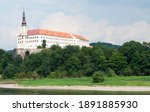 Small photo of Decin (Tetschen) Castle, in front of the Elbe River. A Medieval Castle from the twelfth century and renovated at the sixteenth during the Renascence, with a Baroque Style. Czech Republic
