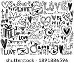 hearts  love calligraphy vector ... | Shutterstock .eps vector #1891886596