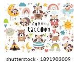 vector set of funny raccoons ...   Shutterstock .eps vector #1891903009