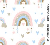 seamless pattern in boho style... | Shutterstock .eps vector #1891903090