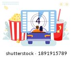 drive in movie theater with... | Shutterstock .eps vector #1891915789