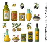 set of olive products. whole... | Shutterstock .eps vector #1891920073
