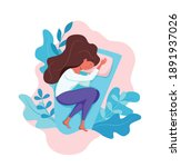 sleepy awake woman in bed... | Shutterstock .eps vector #1891937026