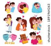 cute couple vector bundle ...   Shutterstock .eps vector #1891964263