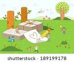 illustration of children and... | Shutterstock . vector #189199178