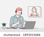 a man use laptop computer and... | Shutterstock .eps vector #1892015686