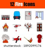 Fire Icon Set. Flat Color...