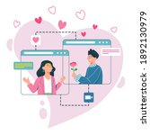 online dating app concept. cute ...   Shutterstock .eps vector #1892130979