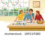 illustration of family painting ... | Shutterstock . vector #189219380