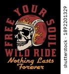 skull with racer helmet tattoo... | Shutterstock .eps vector #1892201329