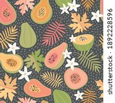 cute  colourful papaya tropical ... | Shutterstock .eps vector #1892228596