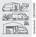 cargo delivery van with man... | Shutterstock .eps vector #1892234089