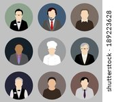 illustrated male flat profiles.   Shutterstock .eps vector #189223628