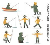 happy fisherman with fishing...   Shutterstock .eps vector #1892239090