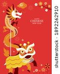 chinese new year lion and... | Shutterstock .eps vector #1892262910