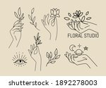 female hands with leaves and... | Shutterstock .eps vector #1892278003