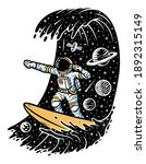 surfing in space. astronaut...   Shutterstock .eps vector #1892315149