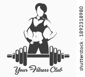 fitness  logo or emblem with... | Shutterstock .eps vector #1892318980