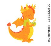 Cute Orange Dragon With A Cup...