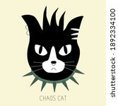 Black And White Punk Cat With...