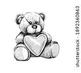 hand drawn sketch of teddy bear ... | Shutterstock .eps vector #1892360863