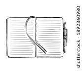 hand drawn sketch of opened...   Shutterstock .eps vector #1892360980