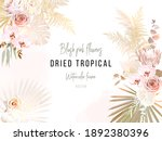 trendy dried palm leaves  blush ... | Shutterstock .eps vector #1892380396
