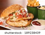 delicious chicken burger with... | Shutterstock . vector #189238439