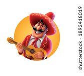cheerful mexican plays the... | Shutterstock .eps vector #1892418019
