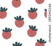 seamless strawberry heart... | Shutterstock .eps vector #1892442166