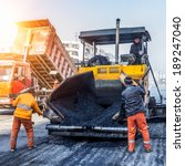 workers making asphalt with... | Shutterstock . vector #189247040