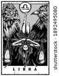 Libra Blackwork Tarot Card...