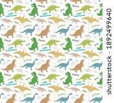 dino seamless pattern  cute... | Shutterstock . vector #1892499640