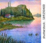 Watercolor Landscape. Colorful...