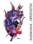 autumn wolf hunter design.... | Shutterstock . vector #1892513716