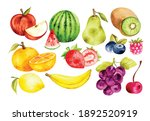 Set Of Fruit In Watercolor...