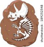 cartoon triceratops fossil | Shutterstock .eps vector #189252548