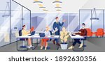 people in masks working in...   Shutterstock .eps vector #1892630356