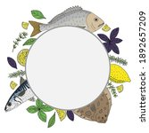 circle frame with seafood  fish ... | Shutterstock .eps vector #1892657209
