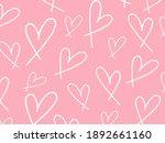 white heart pattern on pink... | Shutterstock .eps vector #1892661160