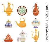 oriental crockery with arabic... | Shutterstock .eps vector #1892711053