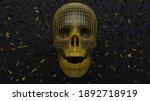 3d Black Skull Gold Filigree...