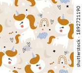 seamless childish pattern with... | Shutterstock .eps vector #1892721190
