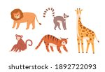 set of cute zoo or wild animals ... | Shutterstock .eps vector #1892722093