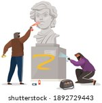 vandals damaging monument.... | Shutterstock .eps vector #1892729443