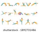 pilates icons set. cartoon set... | Shutterstock .eps vector #1892731486