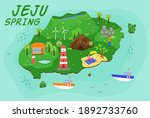 jeju island travel map. spring... | Shutterstock .eps vector #1892733760