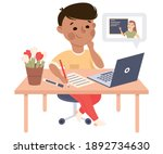 boy studying from home via... | Shutterstock .eps vector #1892734630