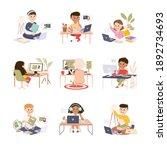 elementary school students...   Shutterstock .eps vector #1892734693