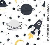 cute space seamless pattern...   Shutterstock .eps vector #1892738200